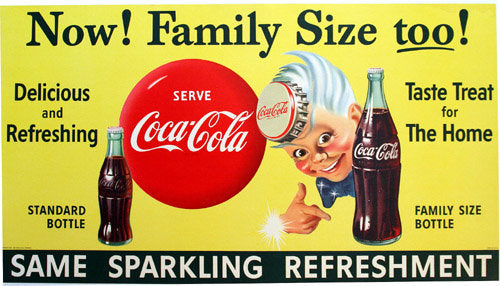 1955 Coca Cola Kid Advertising Figure Vintage Poster Sign