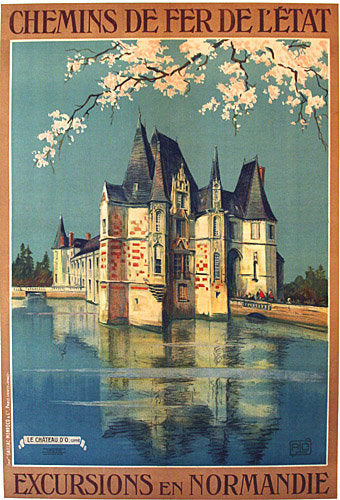 1920's French Chemin de Fer Vintage Rail Normandy Poster