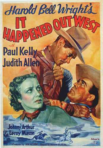 1937 Harold Bell Wright Western Vintage Cowboy Movie Poster