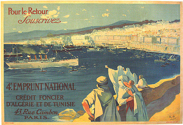 1918 WWI Tunisia Vintage French 4th Military War Bonds Poster