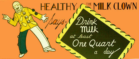 1930's Healthy the Milk Clown Vintage Dairy Poster