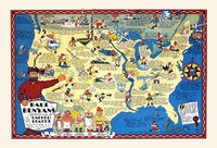 1930's Paul Bunyan Pictorial Antique Map by R.D. Handy