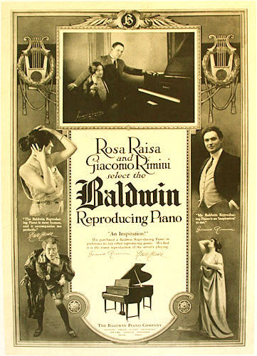 1920's Vintage Baldwin Piano Opera Advertising Poster