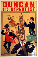 1890 Duncan the Hypnotist Vintage Magic Illusionist Poster