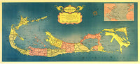 1950's Bermuda Islands Decorative Map Vintage Travel Poster