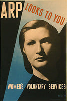 1938 WW2 ARP Looks to You British Vintage Women's Poster