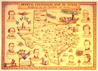 1934 Original Texas Centennial Antique Map Vintage Poster