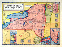 1928 History of New York State Antique Vintage Poster Map