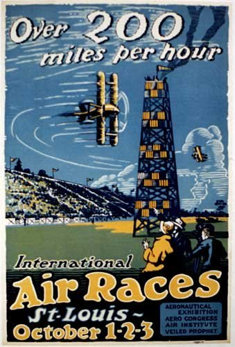 1923 Air Race Original Vintage St. Louis Aviation Biplane Poster