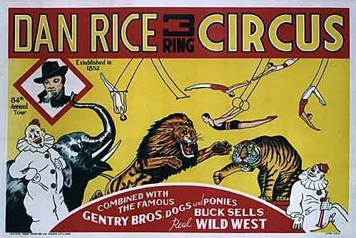 1936 Dan Rice 3 Ring Circus Poster, Iowa: Gentry Bros, Buck Sells