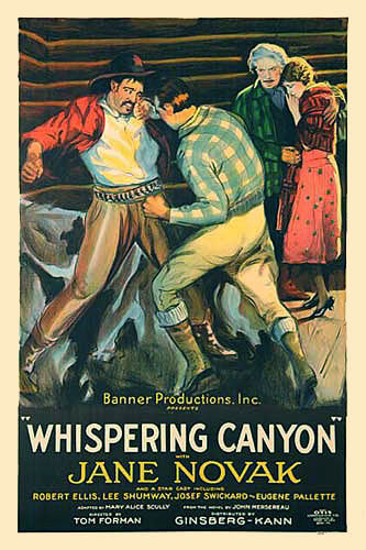 1926 Whispering Canyon Cowboy Silent Movie Vintage Film Poster