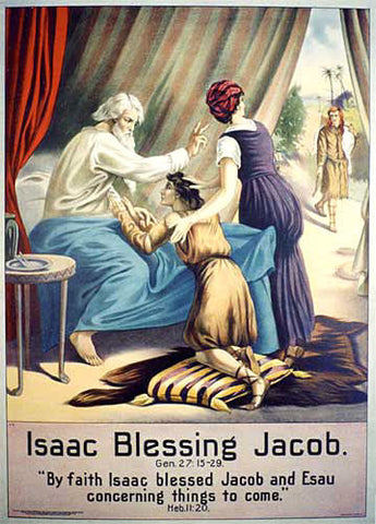 1906 Isaac Blessing Jacob Vintage Religious Bible Lithograph Poster