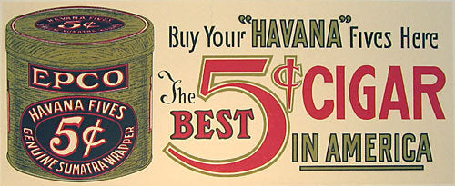 1920's Epco Cigar Antique Advertising Tin Vintage Poster