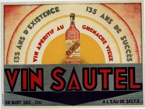 1929 Vin Sautel Aperitif Vintage French Wine Poster