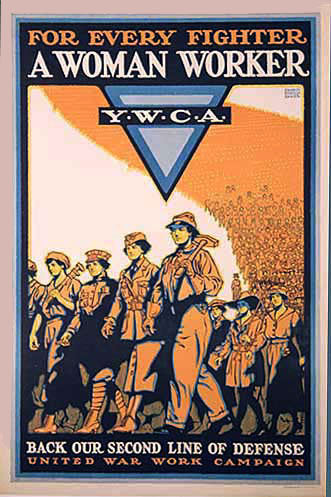 1918 For Every Fighter A Women Worker WW1 Vintage YWCA Poster