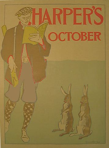 1890's Harper's October Edward Penfield Vintage Literary Poster