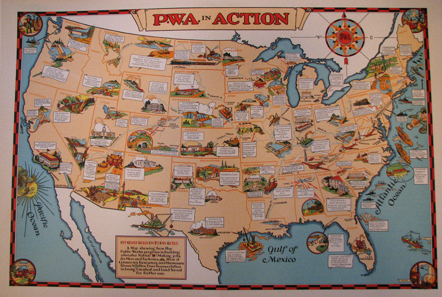 1930's PWA Public Works Administration Vintage Poster Map