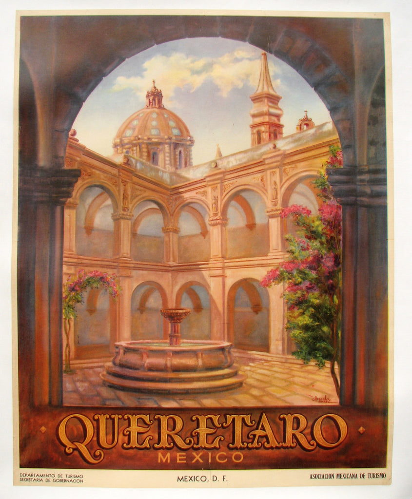 1950's Original Vintage Art Deco Queretaro Mexico Travel Poster