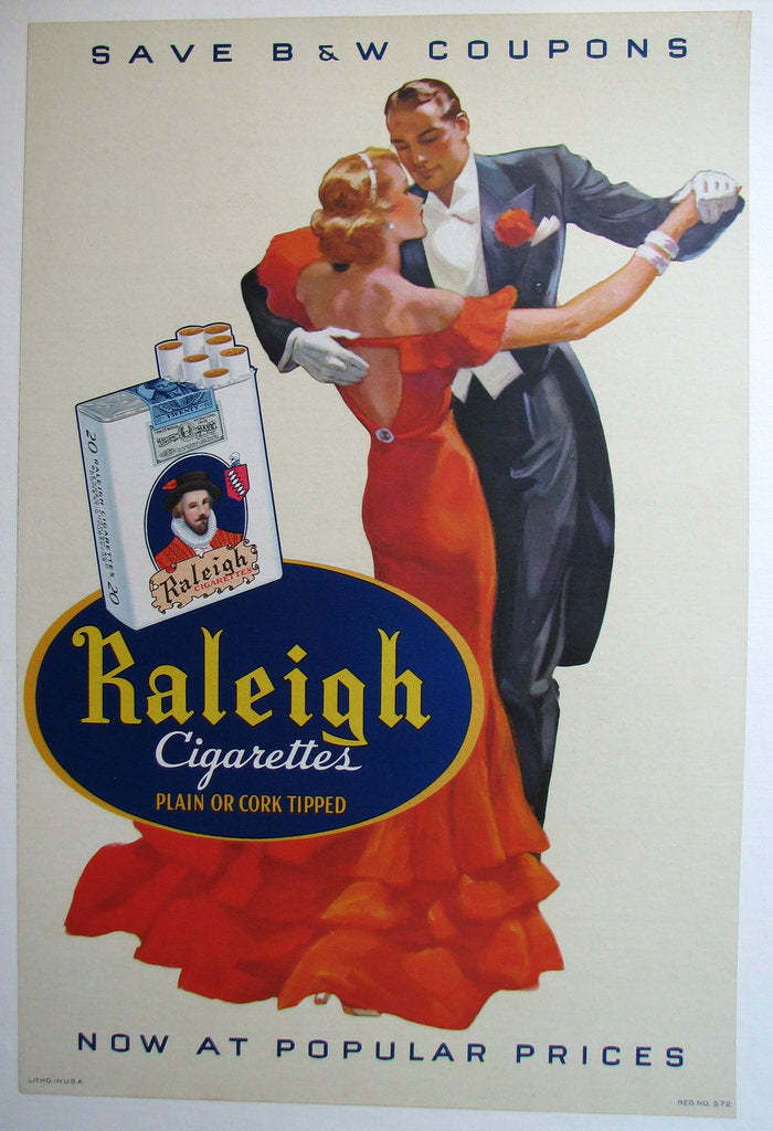 1930's Raleigh Cigarette Ballroom Dancing Vintage Poster