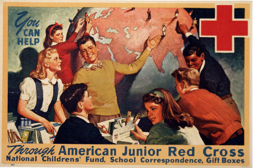 1940 WWII Cross Cultural Junior Red Cross Vintage Military Poster