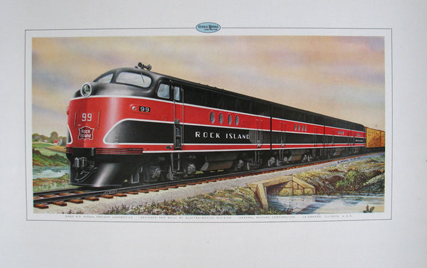 1940's GM Vintage Rock Island Line Railroad Train Poster Print