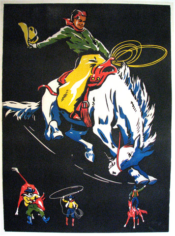 1940's Vintage Cowboy Rodeo Antique Western Advertising Poster LARGE