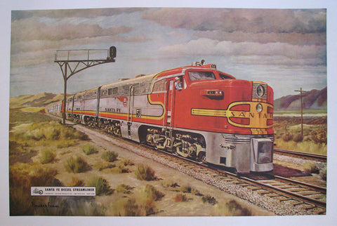 1948 Santa Fe Diesel Streamliner Vintage Railroad Train Poster