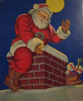 1940's Santa Claus on Chimney Christmas Poster