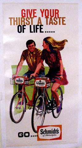 1960's Vintage Schmidt's Beer Antique Advertising Bicycle Poster Sign
