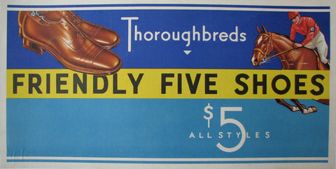1920's Friendly Five Shoes Vintage Thoroughbred Horse Poster Sign