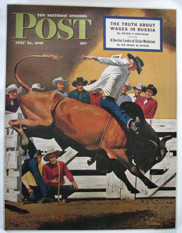 "1945 Fred Ludekens Cowboy Rodeo ""Bull Riding"" Saturday Eve Post Original Vintage Western Poster"