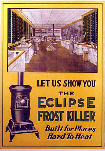 1900 Antique Eclipse Cast Iron Wood Stove Vintage Poster Sign