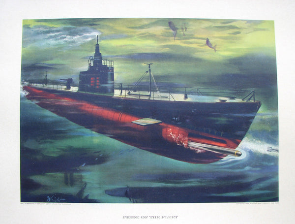 1943 Vintage WWII WW2 Electric Boat Co. Submarine Poster Print