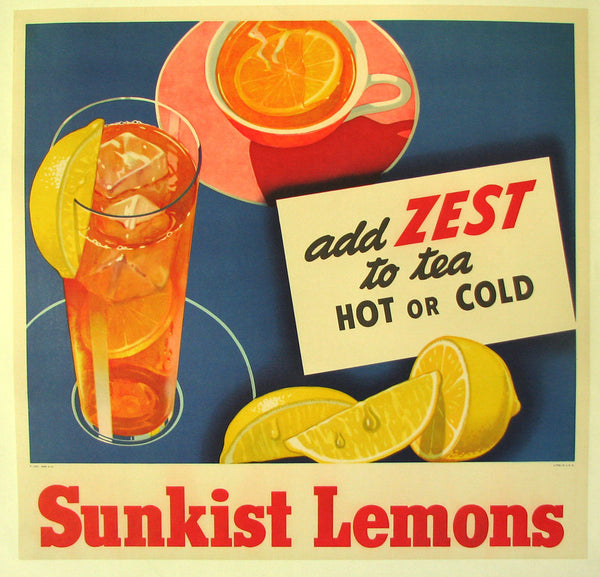 1940's Sunkist Lemons Vintage Food Fruit & Tea Poster