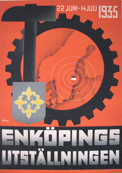 1935 Enkoping Sweden Vintage Swedish Exposition Travel Poster