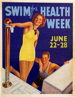 1930's Art Deco Swim for Health Vintage Sports Poster