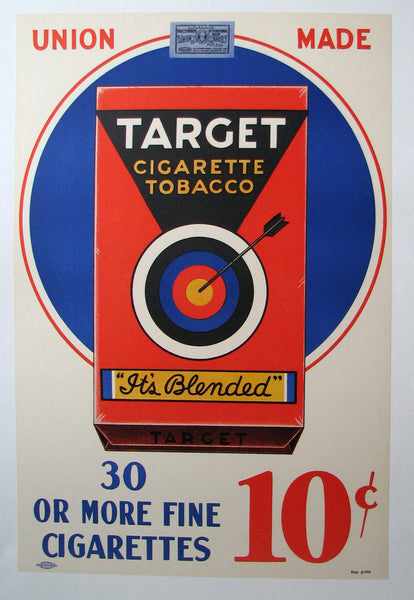 1940's Target Cigarette Vintage Tobacco Poster in White