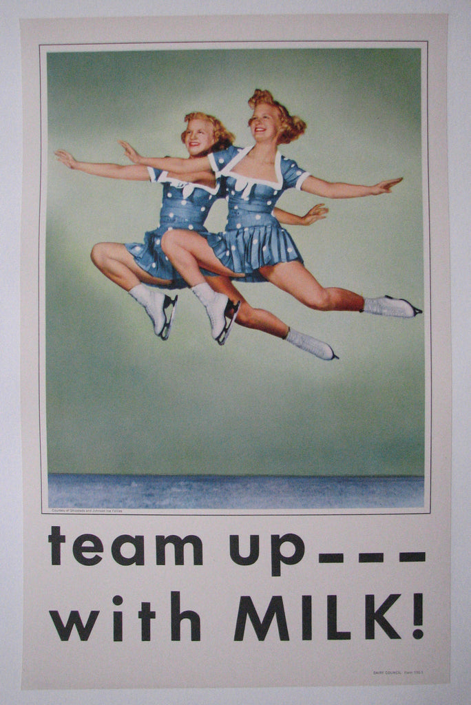 1950's Vintage Shipstads & Johnson Ice Follies Girls Milk Skating Poster