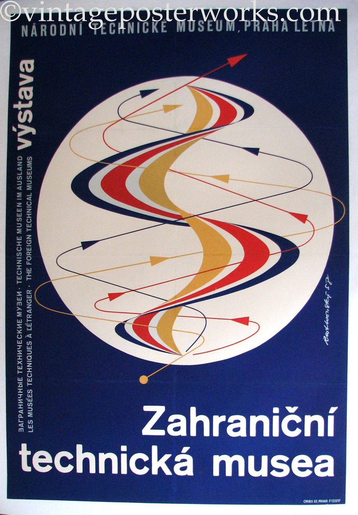 1958 Vintage Prague Czechoslovakia Technical Exhibit Poster
