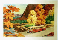 1948 Original Vintage Trailways Art Deco Bus Motorbus Poster
