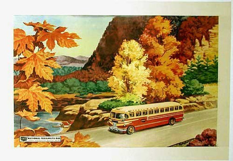 1948 Original Vintage Trailways Bus Poster Motorbus