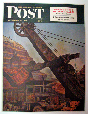 "1947 John Atherton WPA era Steam Shovel ""Mining for Ore"" Saturday Eve Post Poster Original Vintage"