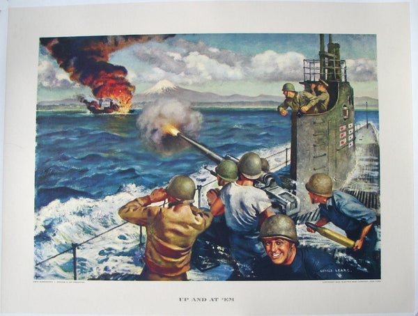 1943 WWII WW2 Up and at 'Em Electric Boat Co. Submarine Poster Print