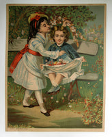 "1900 Victorian Parlor Print ""May Morning"" Vintage Poster"