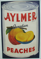 1940's Aylmer Art Deco Peaches Original Vintage Food Fruit Poster