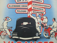 1953 France Motorcycle Bicycle Vintage French Travel Poster