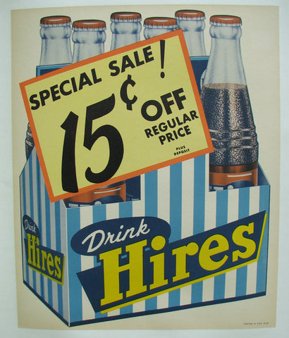 1940's Vintage Hires Root Beer Bottle Poster Sign