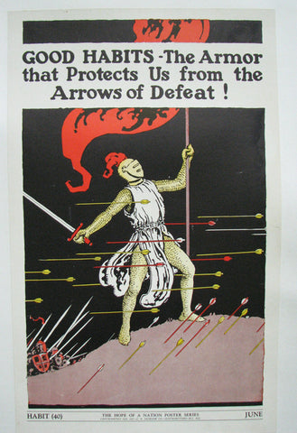 1937 Hope of a Nation Good Habits Knight WPA era Vintage Poster
