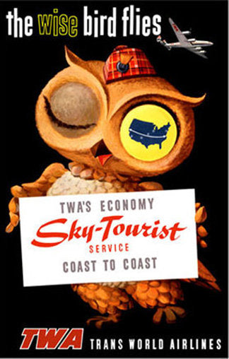 1950's TWA Airlines Original Vintage Sky Tourist Wise Owl Poster