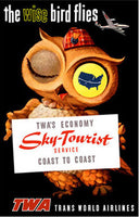 1950's TWA Airlines Sky Tourist Wise Owl Aviation Travel Poster